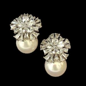 Boucles d'oreille perle et cristaux