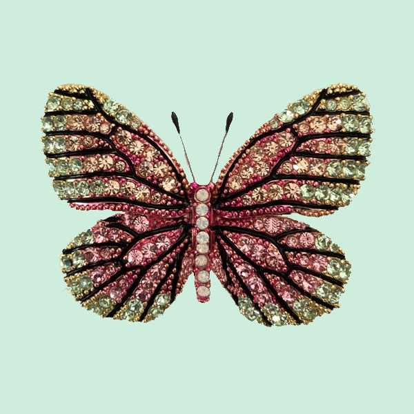 Broche papillon cristaux Swarowski