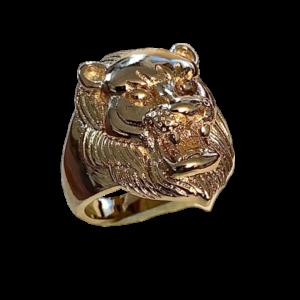 Bague vermeil tête de lion