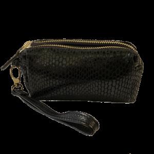 Mini pochette noire en cuir façon python