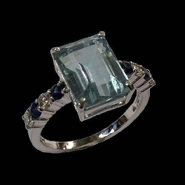 Bague aigue marine saphirs et diamants