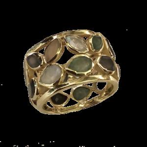 Bague anneau multipierres fines