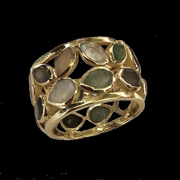 Bague anneau multipierres