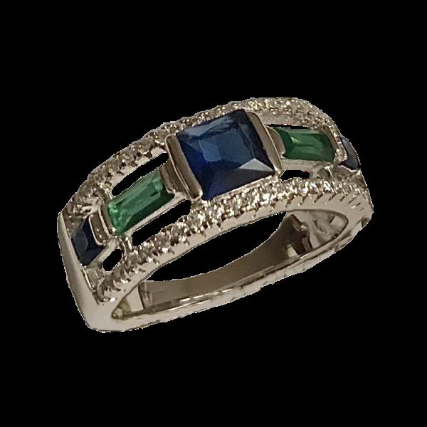 Bague argent pierres fines bleue et verte