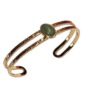 Bracelet jonc doré et jade