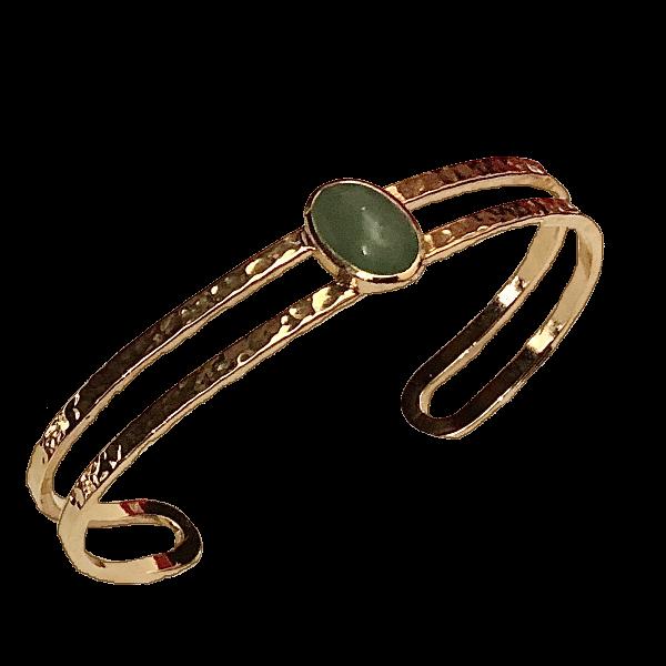 Bracelet jonc dore et jade