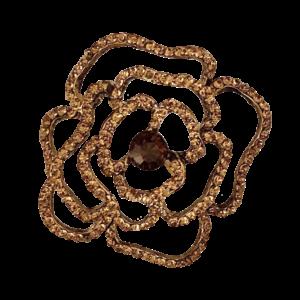 Broche camélia ajourée cristaux
