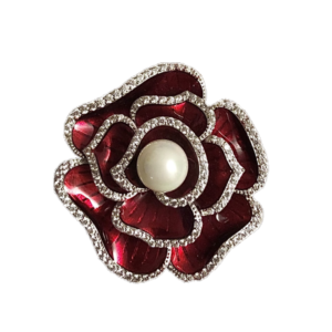 Broche camelia email rouge