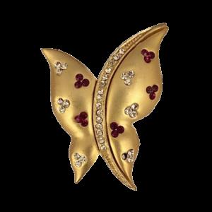Broche papillon mate et cristaux