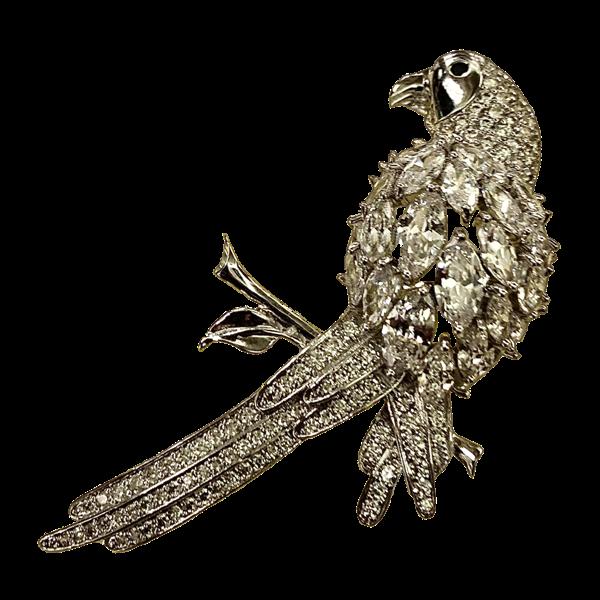 Broche perroquet cristaux Swarovski