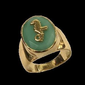 Chevalière chrysoprase, bronze et or