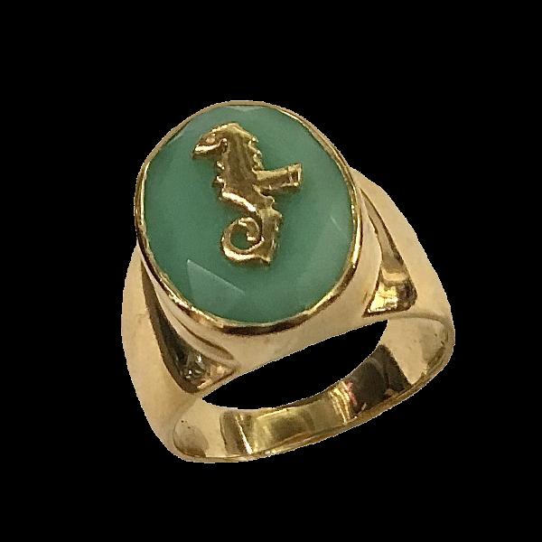 Chevaliere chrysoprase bronze et or