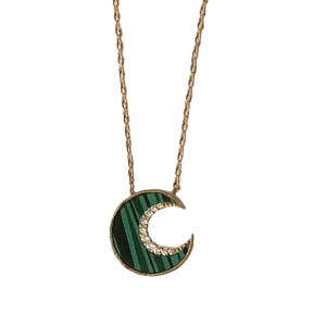 Collier lune malachite