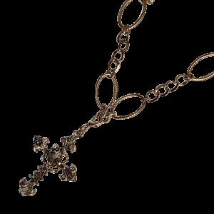 Croix cristaux et chaine baroque