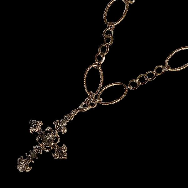 Croix cristaux sur chaine baroque