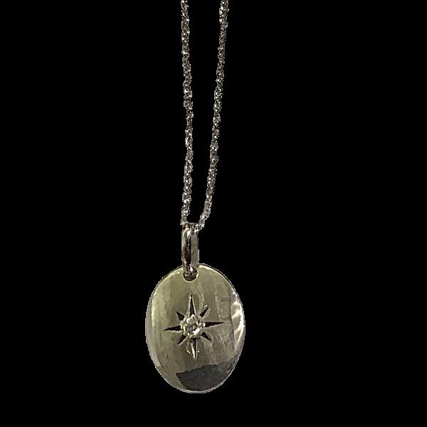Pendentif ovale argent et quartz