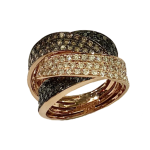 Bague Joaillerie or rose et trio de diamants