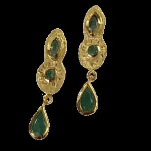 Boucles d'oreille bronze, or et émeraudes