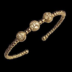 Bracelet jonc doré et cristaux