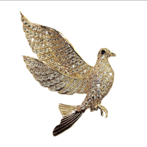 Broche oiseau cristaux