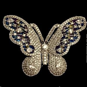 Broche papillon bleu et blanc