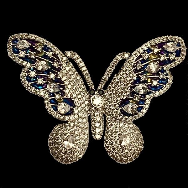 Broche papillon cristaux bleus et blancs