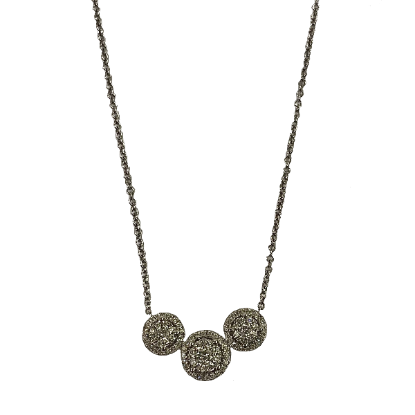 Collier Joaillerie 3 pavages ronds diamants