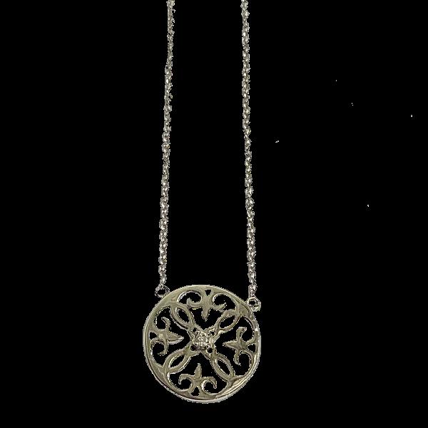 Collier argent motif arabesque