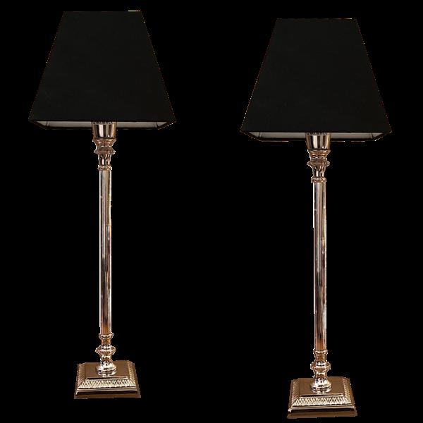 Paire lampes colonne metal argente