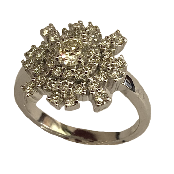 Bague joailleirie Nyala or blanc et diamants