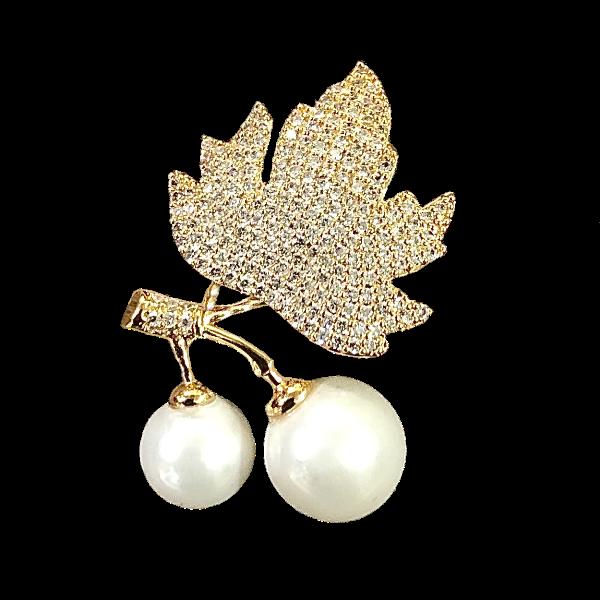 Broche feuille et 2 perles