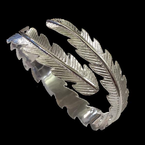Bracelet jonc plume argent