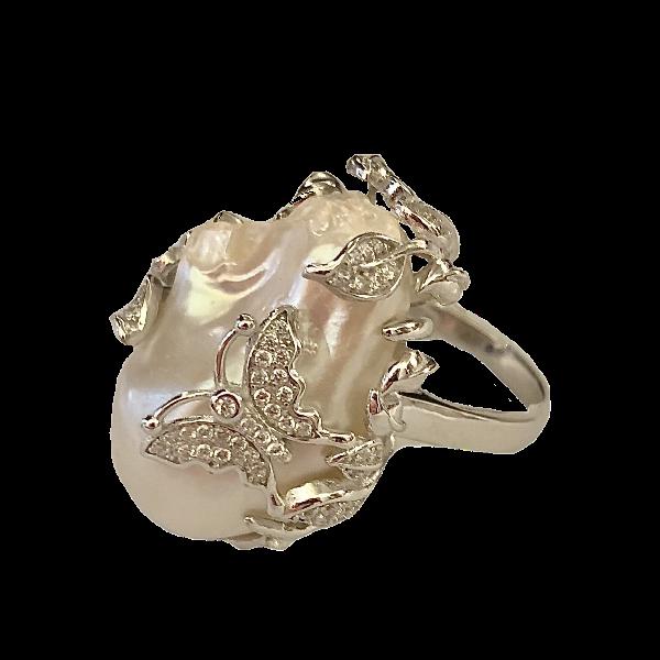 Bague grosse perle baroque