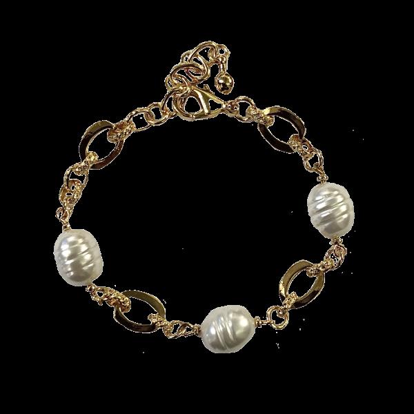 Bracelet perles baroques striees