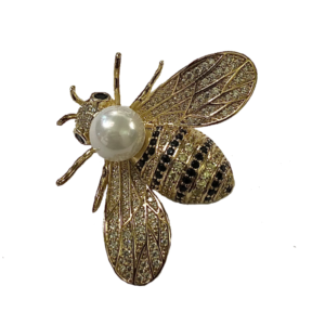 Broche abeille dorée et perle