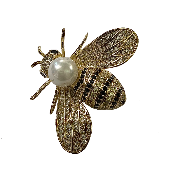 Broche abeille doree et perle