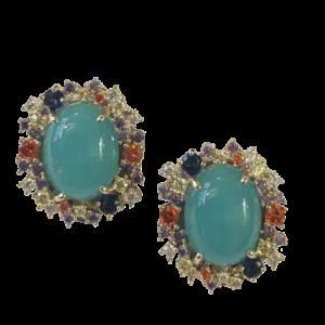 Boucles doreille clip cristaux multcolores
